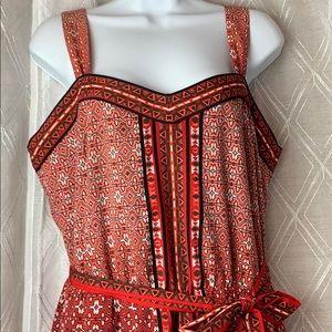 Red print dress with belt sz M
